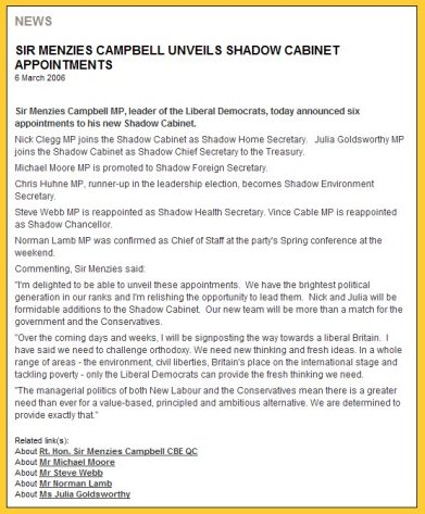 Reshuffle press release on the federal LibDem party website